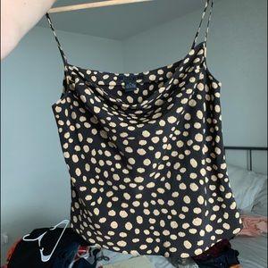 Vintage Dresses - Vintage 100% Silk 2-Piece Polka Dot Skirt Set